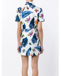 House of Holland - White Printed Shirt Dress - Lyst