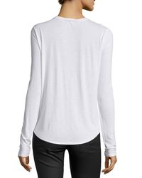 Vince - White Solid Crewneck Long-sleeve Shirt - Lyst