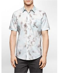 Calvin Klein | Blue White Label Classic Fit Cumulus Print Cotton Short Sleeve Shirt for Men | Lyst