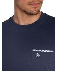 Original Penguin - Blue Check Trim Nimble Crew Neck Regular Fit T-shirt for Men - Lyst