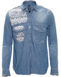 Miharayasuhiro - Blue Floral Patch Denim Shirt for Men - Lyst