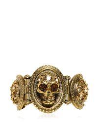 Alexander McQueen - Metallic Skull Stones Brass Bracelet - Lyst