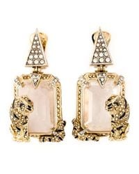 Roberto Cavalli | Metallic Swarovski Crystal Drop Earrings | Lyst