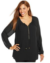 Michael Kors | Black Michael Plus Size Zip-front Tunic | Lyst