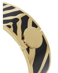 Halcyon Days - Metallic 18 Kt Gold Plated Zebra Bangle - Lyst