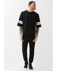Forever 21 | Black Varsity Stripe Cutoff Sweatshirt for Men | Lyst