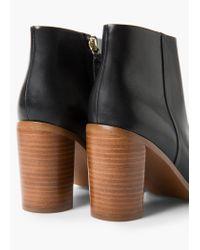 Mango - Black Heel Leather Ankle Boot - Lyst
