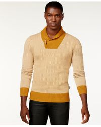 Sean John | Brown Herringbone Shawl-collar Sweater for Men | Lyst
