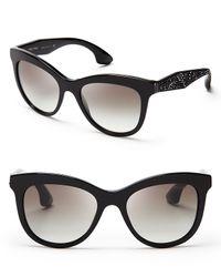 Miu Miu - Black Crystallized Cat Eye Sunglasses - Lyst