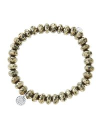 Sydney Evan | Metallic 8Mm Faceted Champagne Pyrite Beaded Bracelet With Mini White Gold Pave Diamond Disc Charm (Made To Order) | Lyst