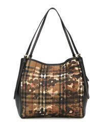 Burberry | Black Small Horseferry Check 'canter' Tote | Lyst