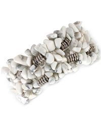 Kenneth Cole | White Silver-tone Semiprecious Chip Bead Stretch Bracelet | Lyst