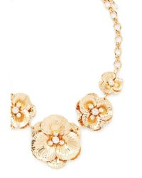 Forever 21 | Metallic Etched Flower Statement Necklace | Lyst