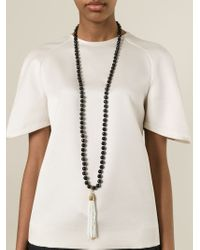 Rosantica | Black Fringe Pendant Beaded Necklace | Lyst