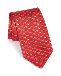 Ferragamo | Red Motorcycle Print Silk Tie for Men | Lyst