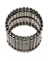 Kenneth Jay Lane | Metallic Women's Gunmetal Wide Crystal Bracelet | Lyst