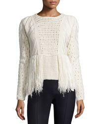 Adam Lippes - White Cable-knit Sweater W/ Fringed Sides - Lyst