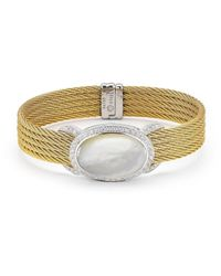 Alor - White Classique Oval-cut Mother-of-pearl & Diamond Bangle Bracelet - Lyst