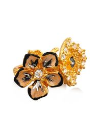 Alexander McQueen - Metallic Cherry Blossom Resin And Brass Ring - Lyst