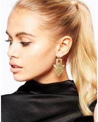 Pieces | Metallic Arrow Earrings | Lyst