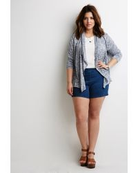 Forever 21 | Blue Plus Size Marled Shawl Collar Cardigan | Lyst