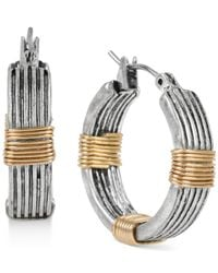 Robert Lee Morris - Metallic Two-tone Wire-wrapped Small Hoop Earrings - Lyst