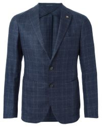 Tagliatore - Blue Plaid Blazer for Men - Lyst