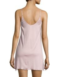 Hanro - Pink Constance Lace-inset V-neck Chemise - Lyst