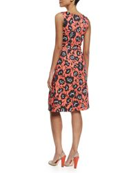 Carolina Herrera - Orange Floral-print Faux-wrap A-line Dress - Lyst