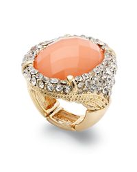 INC International Concepts - Orange Goldtone Coral Oval Stone Pave Cocktail Ring - Lyst