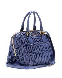 Miu Miu - Blue Matelassé Leather Tote - Lyst