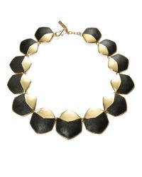 Rachel Zoe | Metallic Graduated Hexagonal And Leather Accented Collar Necklace | Lyst