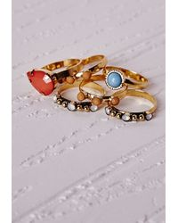 Missguided | Multicolor Multi Stone Stacking Ring Set | Lyst
