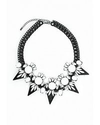Missguided - Matte Chain White Stone Statement Necklace - Lyst