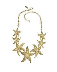 Roberto Cavalli | Metallic Sea Life Gold Tone Metal Star Fish Necklace W/Crystals | Lyst