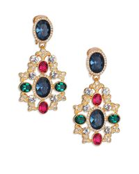 Kenneth Jay Lane | Metallic Multicolor Oval Filigree Drop Earrings | Lyst