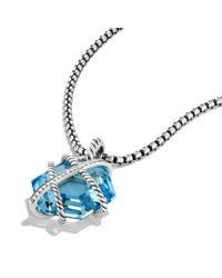 David Yurman - Cable Wrap Pendant with Blue Topaz and Diamonds - Lyst