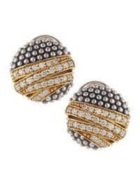 Lagos - Metallic Embrace Round Diamond Earrings - Lyst