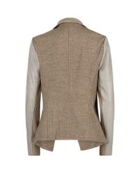 Vince - Natural Leather Sleeve Draped Jacket - Lyst