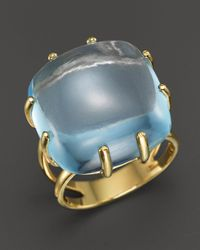 Roberto Coin - 18k Yellow Gold Ipanema Oval Blue Topaz Ring - Lyst