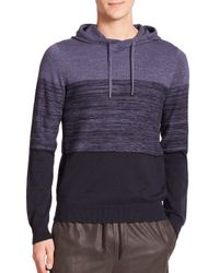 Vince - Blue Striped Cotton & Cashmere Blend Hoodie for Men - Lyst