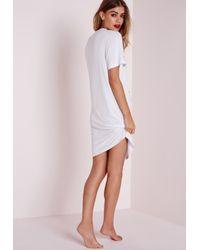 Missguided   Sleepysaurus Night Dress White   Lyst