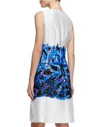 Lela Rose - Blue Embroidered Fullskirt Sheath Dress - Lyst