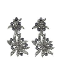 Oscar de la Renta | Metallic Black Diamond Flower Pearl Drop Earrings | Lyst