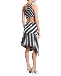Mugler - Black Bias Striped One-shoulder Cutout Dress - Lyst