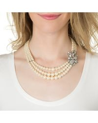 Ben-Amun | White Three Strand Pearl Necklace With Deco Brooch | Lyst