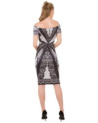 AKIRA - Black Embroidery Print Off The Shoulder Bodycon Dress - Lyst