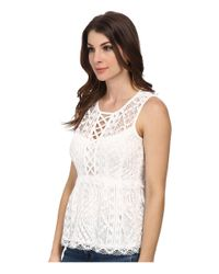 Nanette Lepore | Natural Lacy Tank Top | Lyst