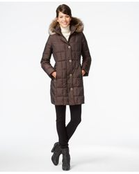 Anne Klein | Brown Faux-fur-trim Quilted Down Coat | Lyst
