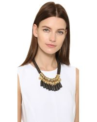 Holst + Lee | Metallic Leather Lace Necklace - Gold/black | Lyst